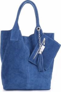 Niebieska torebka GENUINE LEATHER duża na ramię z zamszu