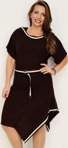 Czarna sukienka Stabo mini z krótkim rękawem z dzianiny