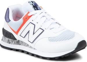 Buty sportowe New Balance ze skóry ekologicznej z płaską podeszwą sznurowane