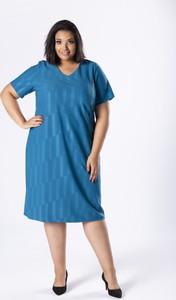Sukienka Moda Dla Ciebie z krótkim rękawem dopasowana z bawełny