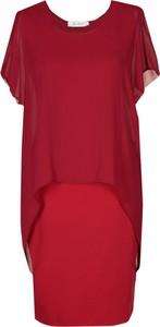 Czerwona sukienka Fokus z okrągłym dekoltem z tkaniny w stylu glamour