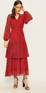 Sukienka Vero Moda z tkaniny z długim rękawem z dekoltem w kształcie litery v