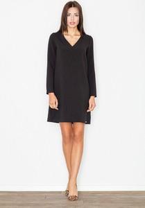 Czarna sukienka Figl w stylu casual z długim rękawem wyszczuplająca
