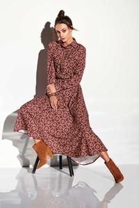 Czerwona sukienka Lemoniade z kołnierzykiem szmizjerka maxi
