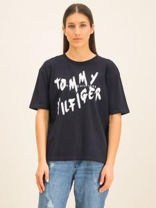 Granatowy t-shirt Tommy Hilfiger z krótkim rękawem z okrągłym dekoltem