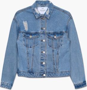 Niebieska kurtka Cropp z jeansu krótka