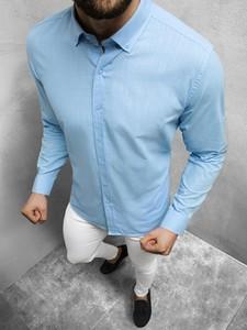 Niebieska koszula Ozonee z długim rękawem w stylu casual