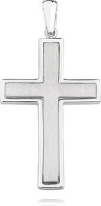 Valerio Elegancki duży rodowany srebrny piaskowany satynowany krzyżyk krzyż srebro 925 KS0207C