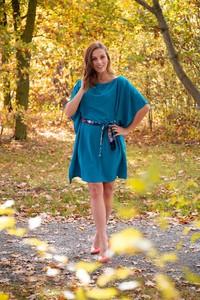 Niebieska sukienka Simpo rozkloszowana z długim rękawem w stylu casual