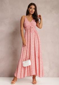 Srebrna sukienka Renee maxi na ramiączkach z dekoltem w kształcie litery v