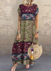 Sukienka Cikelly z krótkim rękawem maxi w stylu boho
