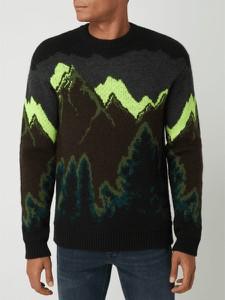 Czarny sweter Hugo Boss z wełny z okrągłym dekoltem