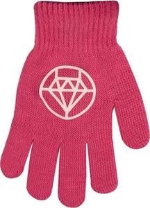 Różowe rękawiczki yoclub z nadrukiem