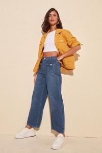 Niebieskie jeansy Trendyol w stylu retro
