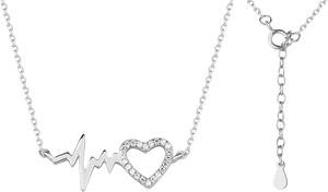 Valerio Delikatny rodowany srebrny naszyjnik gwiazd celebrytka linia życia tętno puls serce serduszko cyrkonie srebro 925 Z1533N