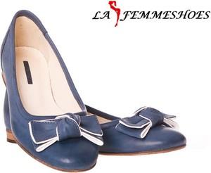 Niebieskie baleriny Lafemmeshoes z płaską podeszwą