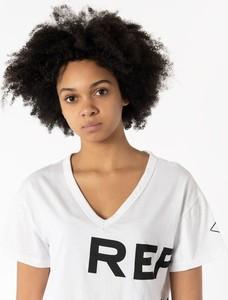 T-shirt Replay z dekoltem w kształcie litery v z krótkim rękawem