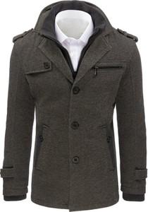Czarny płaszcz męski Dstreet z bawełny