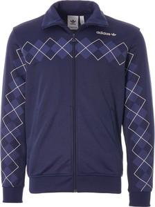 Niebieska bluza Adidas z dresówki w młodzieżowym stylu z nadrukiem
