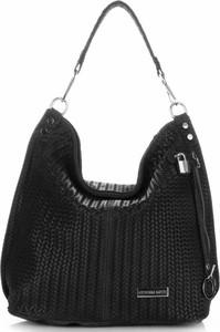 Uniwersalne torebki skórzane typu shopperbag vittoria gotti czarne