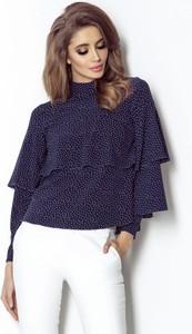 Niebieska bluzka Ivon w stylu casual z długim rękawem z tkaniny