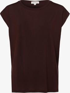 Czerwony t-shirt ARMEDANGELS z dżerseju z okrągłym dekoltem