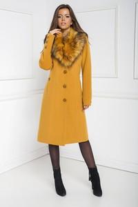Żółty płaszcz Marcelini z wełny