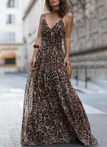 Brązowa sukienka Cikelly z dekoltem w kształcie litery v maxi