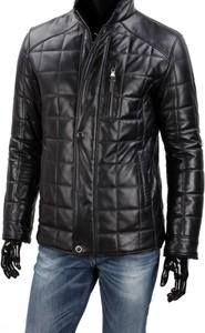 Czarna kurtka Dorjan w stylu casual ze skóry