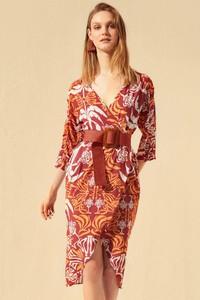 Pomarańczowa sukienka Trendyol w stylu casual z długim rękawem