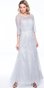 Sukienka POTIS & VERSO z okrągłym dekoltem maxi z tiulu