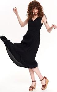 Czarna sukienka Top Secret maxi z dekoltem w kształcie litery v
