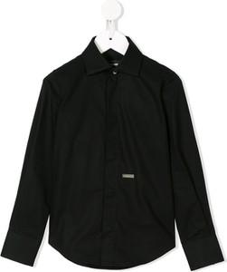 Czarna koszula dziecięca Dsquared2 Kids z bawełny z długim rękawem