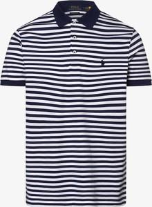 Niebieska koszulka polo POLO RALPH LAUREN w stylu casual z krótkim rękawem