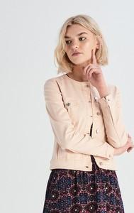 Różowa kurtka Sinsay w stylu casual z jeansu krótka