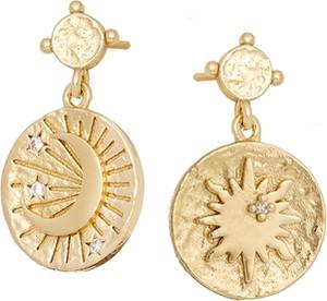Ania Kruk Kolczyki ASTRO srebrne pozłacane z księżycem i słońcem
