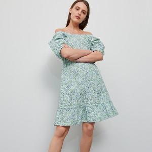 Zielona sukienka Reserved z odkrytymi ramionami mini