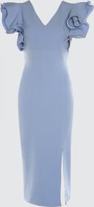 Sukienka Trendyol midi z dekoltem w kształcie litery v z krótkim rękawem