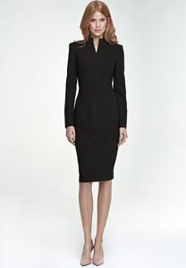Czarna sukienka NIFE z długim rękawem ołówkowa