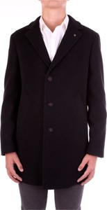 Czarny płaszcz męski Manuel Ritz z wełny