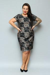 Sukienka KARKO z krótkim rękawem ołówkowa z okrągłym dekoltem