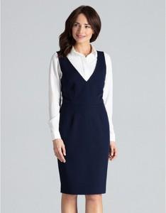 Granatowa sukienka LENITIF midi z dekoltem w kształcie litery v
