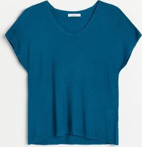 Turkusowa bluzka Reserved w stylu casual