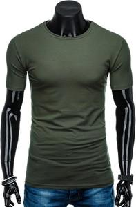 Zielony t-shirt Edoti z krótkim rękawem w stylu casual