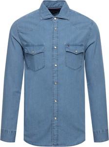 Niebieska koszula Tommy Hilfiger z długim rękawem w stylu casual z bawełny