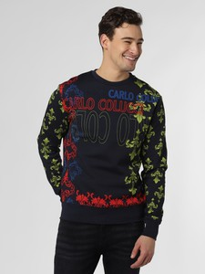 Niebieska bluza Carlo Colucci z nadrukiem w młodzieżowym stylu
