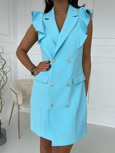 Niebieska sukienka Versada z dekoltem w kształcie litery v mini bez rękawów