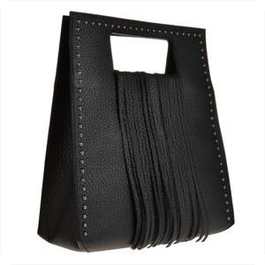 Elagencka czarna torebka vezze z frędzlami i małymi ćwiekami