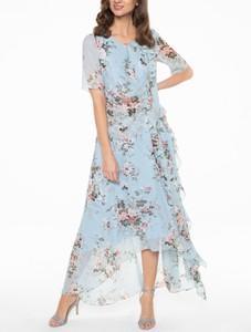 Niebieska sukienka POTIS & VERSO z tkaniny maxi