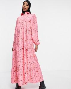 Różowa sukienka Asos z długim rękawem koszulowa